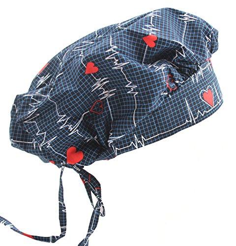 (Bouffant Navy Blue Heart Beat EKG Scrub Cap with Adjustable)