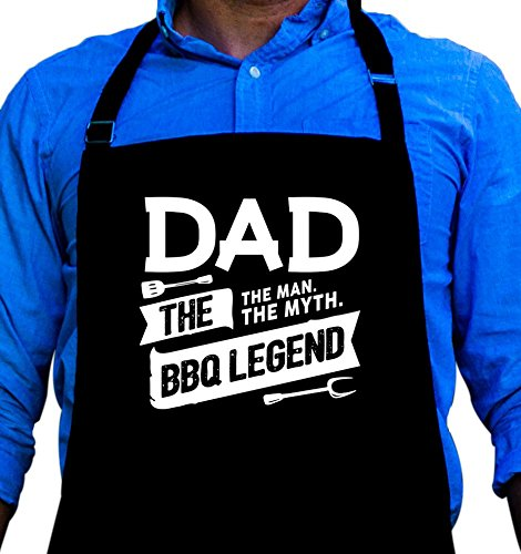 Dad Apron (BBQ Grill Apron - Dad. The Man. The Myth. The Legend - Funny Apron For Dad - 1 Size Fits All Chef Apron High Quality Poly/Cotton 4 Utility Pockets, Adjustable Neck and Extra Long Waist Ties)