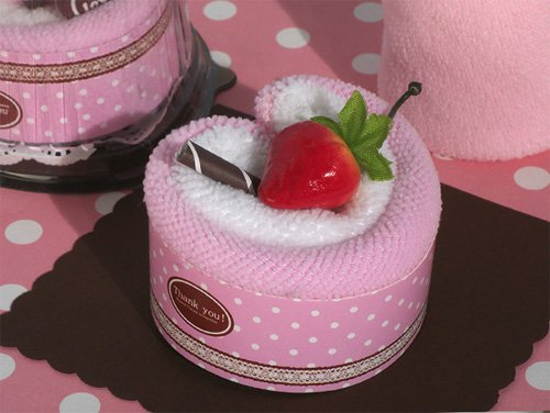Sweet Treats Collection Strawberry heart shape cupcake towel favor [SET OF 24]