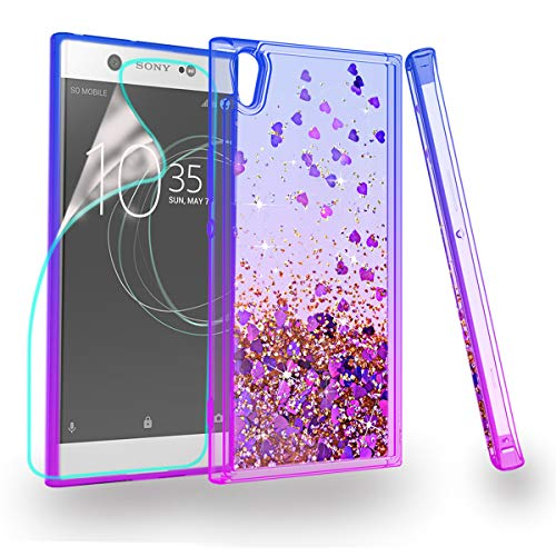 ZingCon Compatible Sony Xperia XA1 Ultra Case,Glitter Phone Case Quicksand Bling Adorable Shine,[HD Screen Protector] Shockproof Hybrid Hard PC Soft TPU Protective Cover-Blue/Purple
