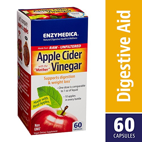 Enzymedica - Apple Cider Vinegar, Natural Support for Digestion and Healthy Weight Balance with The Mother Preserved in Each Serving, Raw, Unfiltered, Non-GMO, Vegan, 60 Capsules