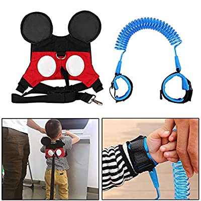 MPAYIXUNGS (2 kit) Anti Lost Wrist Link 2 Meters Wrist Leash for Kids & Toddlers Child Safety Wristband (Blue+Red)