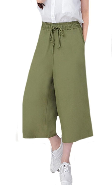 MLG Womens Chiffon Loose Wide Leg Capri Casual All-match Pants