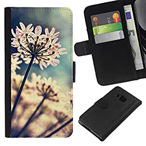 KingStore / Leather Etui en cuir / HTC One M9 / Flores del jardín floreciente de Sun;