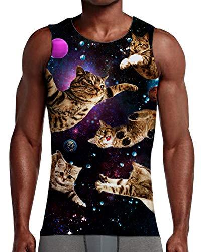 NEWISTAR Men's Funny Space Cat Print Workout Gym Tank Top Causal Sleeveless Shirts XL