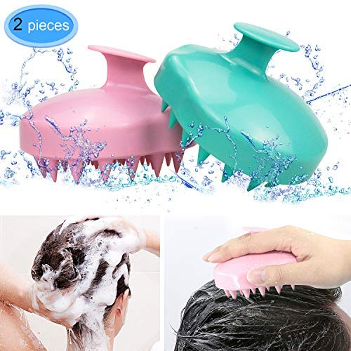 - EAONE 2 Pack Shampoo Brush Hair Scalp Massager Soft Silicone Comb Massage (Wet& Dry) for Men Women Kids Pet, Pink, Teal
