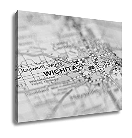Amazon Com Ashley Canvas Wichita Kansas City Area On A Map Wall