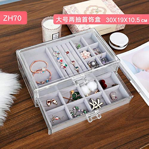 Jewelry Box Princess European Korean Jewelry Storage Box Hand Jewelry Earring Transparent Acrylic Box Earrings earings Dangler Eardrop Rings (Large Two + Two Drawers Grid Plates (Drawer Youth 2)