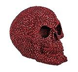 Metallic Red Rhinestone Skull Statue