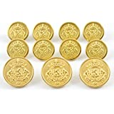 MetalBlazerButtons.com PREMIUM ~GOLD HERALDIC LION CREST~ METAL BLAZER BUTTON SET ~ 11-Piece Set of Shank Style Fashion Buttons For Single Breasted Blazers, Sport Coats, Jackets & Uniforms ~ METALBLAZERBUTTONS.COM