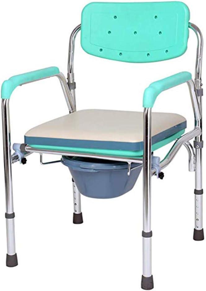 Silla de inodoro médico de aleación de Aluminio - Ajustable sobre el Inodoro y la cómoda Junto a la Cama - Viene con Cubo/Tapa, Taburete de Ducha Plegable para Ancianos Embarazadas