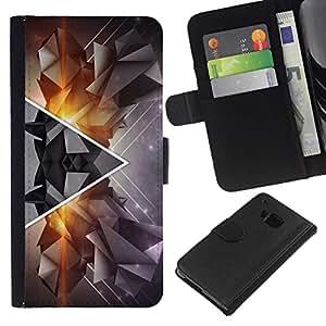 All Phone Most Case / Oferta Especial Cáscara Funda de cuero Monedero Cubierta de proteccion Caso / Wallet Case for HTC One M7 // Polygon Triangle Abstract Hipster Art