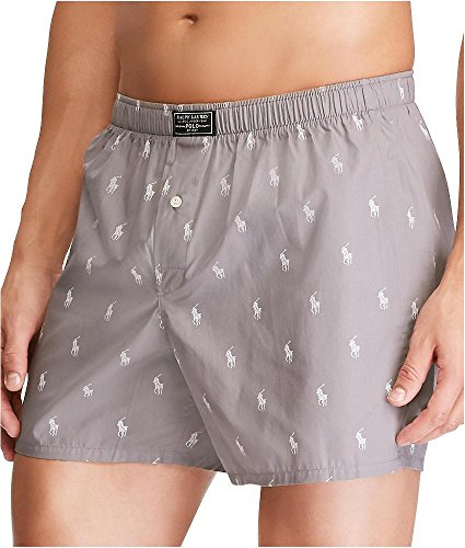 Marine Boxer Shorts (Polo Ralph Lauren Polo Player Woven Boxer, L, Marine Grey)