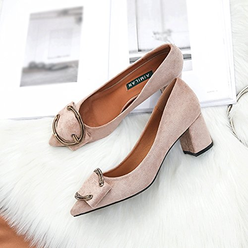 On Women Buckle Heel Penny Loafers Suede Apricot Retro Pointed Fashion Shoes Toe Slip Metal Mid For wI6E0aq