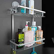 Mcelf Int. Shower Caddy Bathroom Shampoo Storage Nail Free Double Layer Shower Basket Bathroom Tray Organizer Shelf Self Adhesive Wall Mounted with Suction Cups (Rectangle, 2-Tier) ...