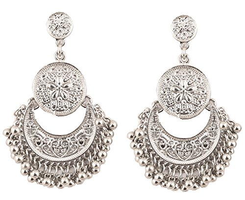 New  Touchstone Indian Bollywood Oxidized Silver Look Half Moon Chand Baali Designer Jewelry Collection In Silver Tone Women