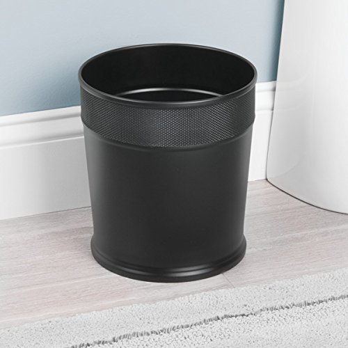 mDesign Decorative Round Small Trash Can Wastebasket, Garbage Container Bin for Bathrooms, Powder Rooms, Kitchens, Home Offices - Steel in Matte Black Finish with Woven Textured Accent