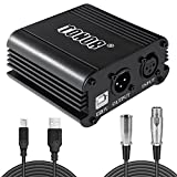 TONOR 48V 1-Channel Phantom Power Supply with 1.46m USB Cable and 2.5m XLR 3 Pin Microphone Cable for Any Condenser Microphone Recording Equipment Studio, Black