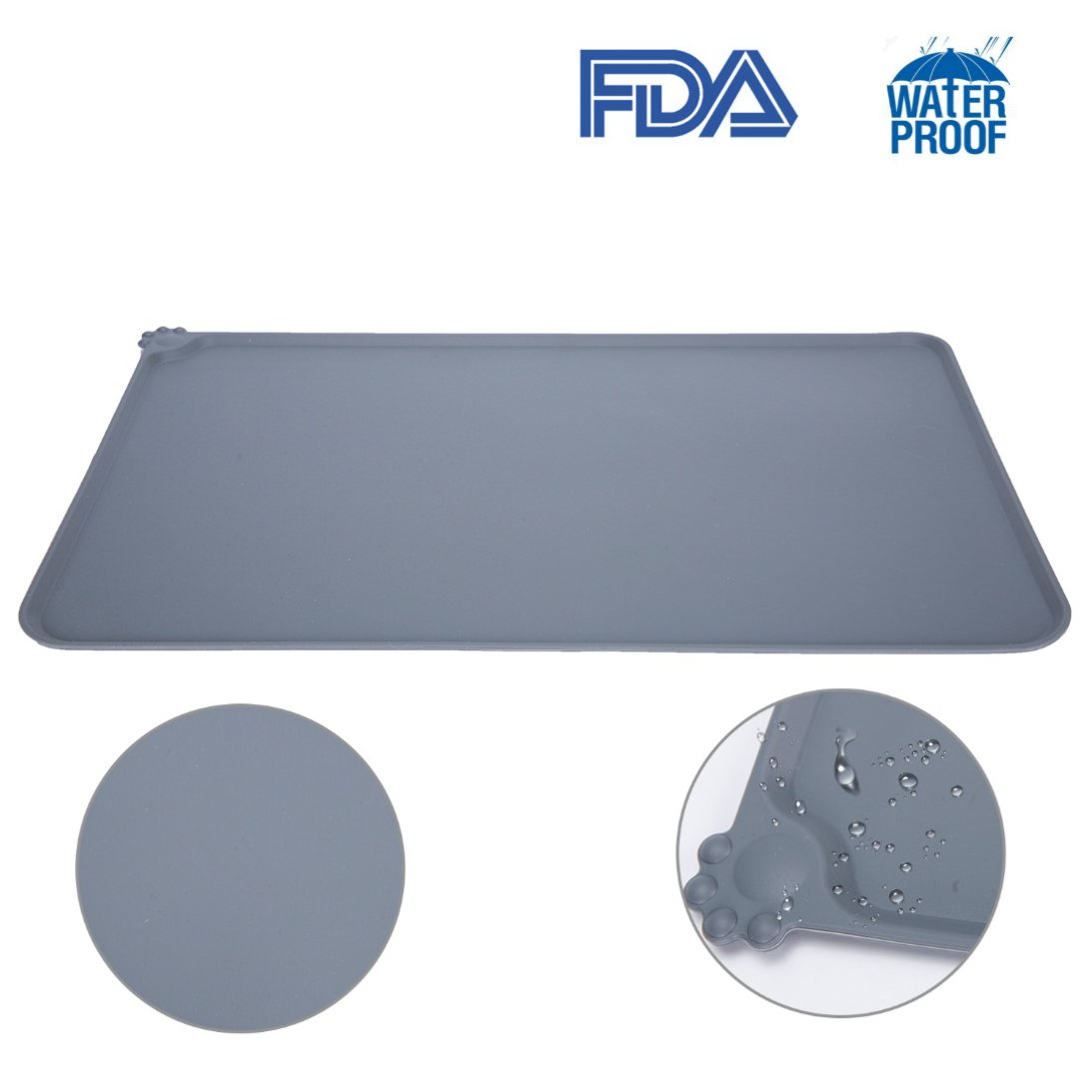 Dog Food Mat Premium FDA Approved Silicone OUMAL Waterproof Bowl Mat Non-Skid No Mess Feeding Mat for Pets