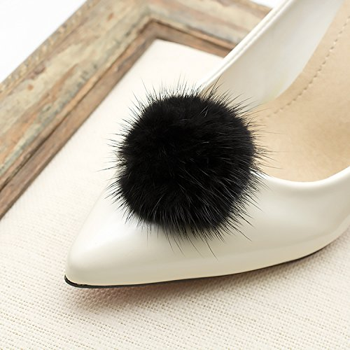ZAKIA Women' Fluffy Mink Fur Pom Removable Shoe Clips Clutch Wedding Decoration Pack of 2 (Black) by ZAKIA (Image #3)