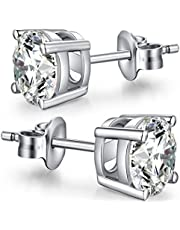 jiamiaoi Orecchini a lobo orecchini donna argento orecchini diamante orecchini in oro rosa 925 orecchini in argento sterling orecchini cubic zirconia orecchini donna 8mm