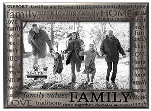Malden International Designs Modern Pewter Metal Diecast Family Expressions Picture Frame, 4x6, Silver - Linda Picture Frame