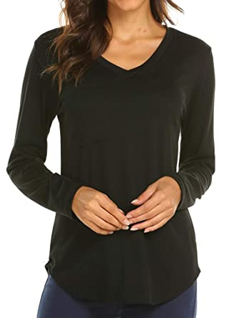 629ae355bbb Tobrief Women s Long Sleeve Tunic Tops Plain Casual T-Shirts Basic Tees Tops  Blouse