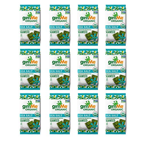 gimMe Snacks Organic Premium Roasted Seaweed, Sea Salt, Gluten-Free & Non-GMO,  0.17 Ounce (5 g) - (Pack of 12)