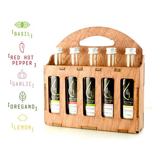 Pellas Nature | Fresh Organic Infused Olive Oil | Red Hot Pepper | Basil | Garlic | Oregano | Lemon | Wooden Gift Set | Single Origin Greek EVOO | 5 X 1.7oz (5x50ml) - 50ml/1.7oz Oil