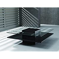 New Spec Inc 387822 Modern Coffee Table w Square Glass Top w Wenge