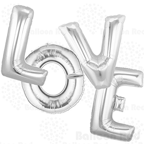 40 Inch Giant Jumbo Helium Foil Mylar Balloons Bouquet (Premium Quality), Glossy Silver, Letters LOVE