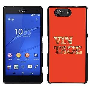 EJOY---Cubierta de la caja de protección para la piel dura ** Sony Xperia Z3 Compact ** --Vintage texto fresco Red Old School de Orange
