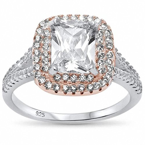 (Blue Apple Co. Double Halo Split Shank Engagement Ring Radiant Simulated Cubic Zirconia Two Tone 925 Sterling SilverSize-7)