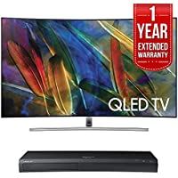 Samsung QN65Q7CAMFXZA Curved 65 4K Ultra HD Smart QLED TV (2017 Model) w/ Samsung 4K Ultra HD Blu-ray Player & 1 Year Extended Warranty
