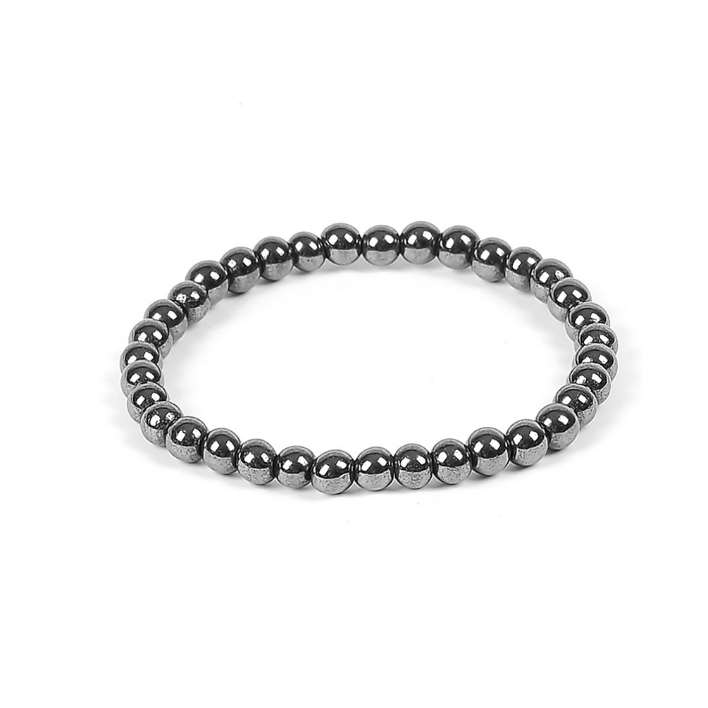 Pretty See Unisex Hematite Bracelet Magnetic Bracelet Beaded Bracelet, 0.3'' Diameter of the Beads