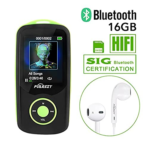 Puersit T06 HIFI MP3 Player with 16GB Internal Capacity (Expandable Up to 64GB) Bluetooth 4.0, 50 Hours Playback Lossless Sound Music Player (Jogging Mp3 Player Bluetooth)
