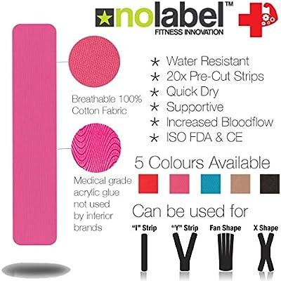 No Label Cinta Kinesiología Pre-Cortada Rosa - Kinesiology Tape ...