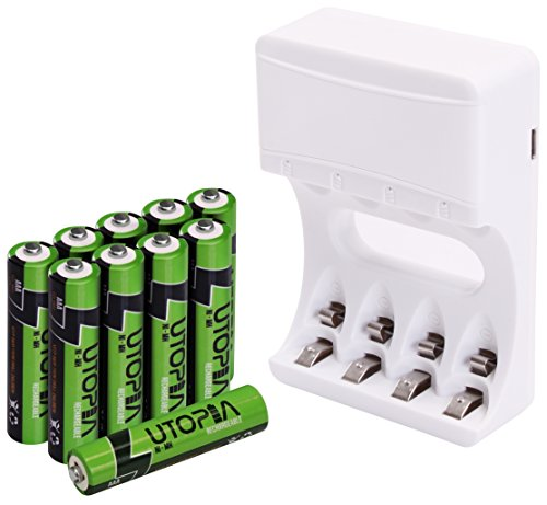 Pack of 10 AAA Rechargeable Batteries with Battery Charger - High Capacity - Long Lasting - By Utopia Home