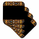 3dRose Brown and black African Pattern - Art of Africa Inspired by Zulu Beadwork Geometric Designs - Soft Coasters, Set of 8 (cst_76556_2)