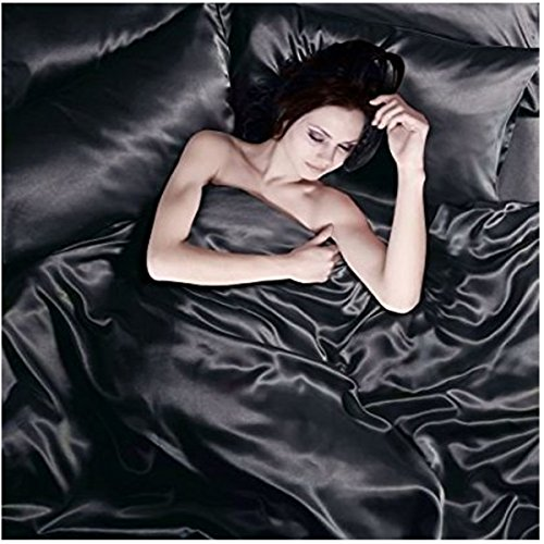 Satin 6 Pcs Silky Sexy Bedding Set Queen Duvet Cover Fitted Sheet & 4x Pillowcases (Black)