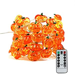 Halloween Pumpkin String Lights, ZALALOVA 13.12 ft 40 LEDs 8 Modes Jack-O-Lantern Halloween Pumpkin Lights Copper Wire Battery Operated with Remote Timer Halloween Thanksgiving Decoration (Warm White)