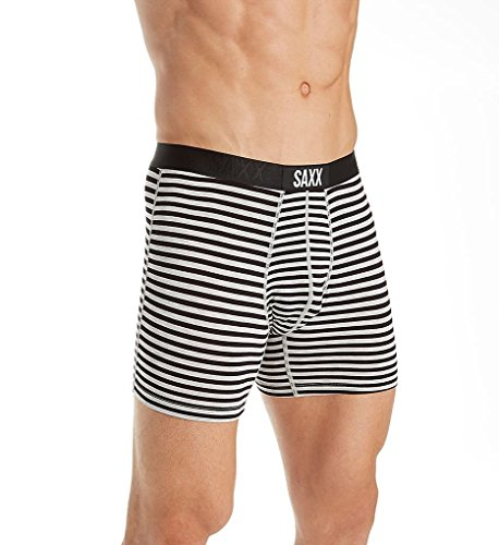 Saxx Underwear Vibe Men's Boxer Briefs Ballpark Pouch Black Hiker Stripe Small