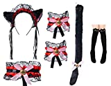 Cute Cat Cosplay Costume Anime Maid Lolita Ears Headband Collar Bracelet Kitten Tail Socks Set(Black Red)