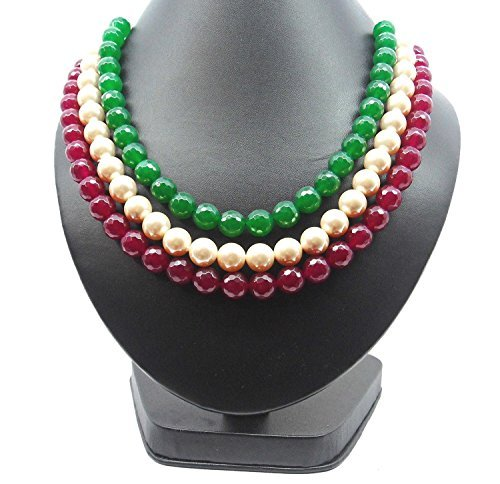 Bling N Beads Designer Multicolour 3 line long Necklace(Ruby/Emerald/Off White) Gift For Her Diwali by Bling N Beads