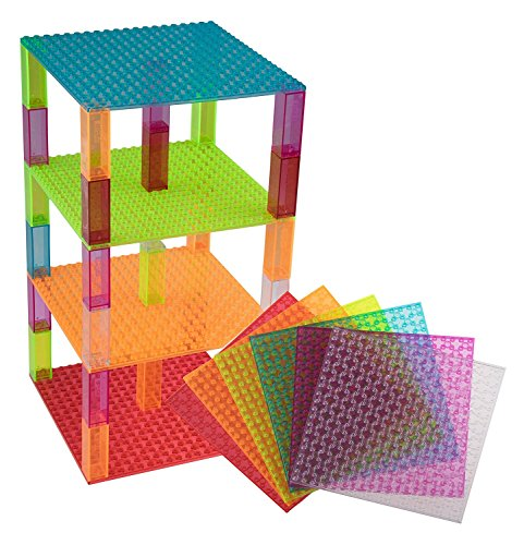 "Free Premium Clear Colors Blue, Clear, Green, Magenta, Orange, and Red Stackable Base Plates - 6 Pack 6"" x 6"" Baseplate Bundle with 60 New and Improved 2x2 Stackers - Compatible with All Major Brands"