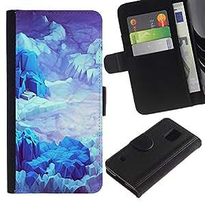 WINCASE (No Para S5 Mini) Cuadro Funda Voltear Cuero Ranura Tarjetas TPU Carcasas Protectora Cover Case Para Samsung Galaxy S5 V SM-G900 - espacio planeta azul iceberg de terreno