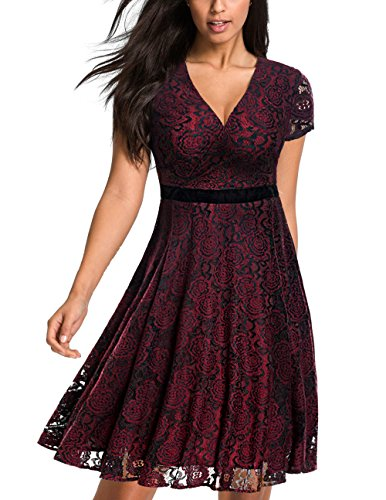 Tuliplazza Women's Vintage Floral Lace Deep V-Neck Party Cocktail Swing Dress