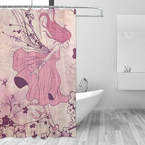 Warm-Tone Art What is Your Anime Hair Color Shower Curtain Stylish and Individual Bathroom Curtain Decoration with Hooks - 60x72 Inches