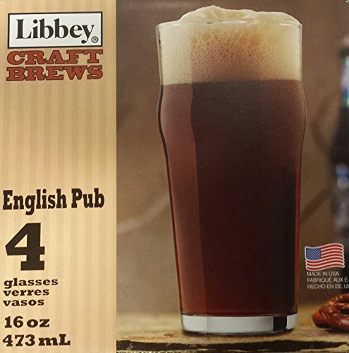 Libbey Craft Brews 16 Ounce Clear English Pub Glasses, Set of 4 Litho Boxed