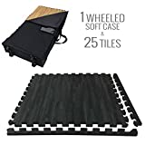 Incstores - Premium Soft Wood Interlocking Foam Tiles (2'x2') - Excellent for Trade Show Flooring, Exhibit Flooring, Display Flooring, Conventions, Living Areas, Play Rooms, Yoga, Pilates and Other Light Aerobic/cardio Exercises (Black, 25 Tiles w/ Wheeled Soft Case)